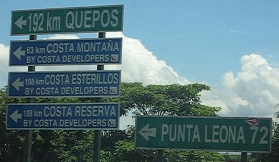 Signs to Quepos & Punta Leona